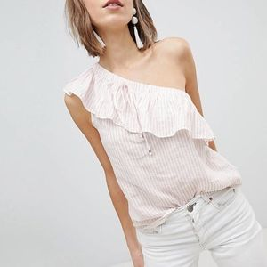 Vero Moda | Pink and White One-Shoulder Top